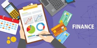 Análisis financiero con el ejemplo del ordenador portátil y del diagrama Foto de archivo libre de regalías