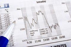 Análisis financiero en newspape imagen de archivo libre de regalías