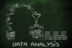 Análisis y inteligencia empresarial de datos: la fábrica trabaja a máquina transfor Fotografía de archivo libre de regalías