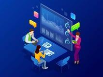 Análisis y planeamiento isométrico de negocio, consulta, trabajo del equipo, gestión del proyecto, informe financiero y estrategi