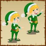 Anão bonito no verde com emoções tristes e felizes Fotografia de Stock Royalty Free