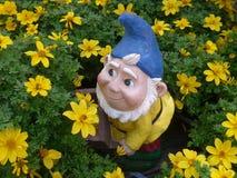 Anão do jardim em uma cama de flor Fotos de Stock Royalty Free