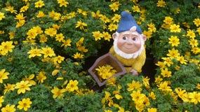 Anão do jardim em uma cama de flor Imagens de Stock