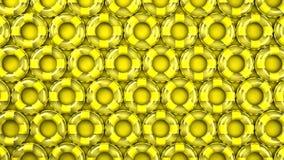 Anéis amarelos da nadada no fundo amarelo vídeos de arquivo