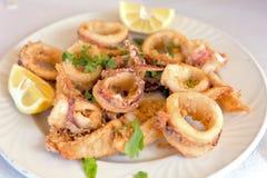 Anéis calamary fritados frescos Fotografia de Stock