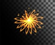 Anéis claros de incandescência dourados dos efeitos da luz do vetor com a decoração das partículas isolada na página transparente Fotografia de Stock Royalty Free
