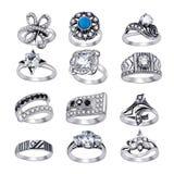 Anéis com as gemas isoladas no fundo branco Imagens de Stock Royalty Free