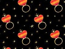 Anéis com corações sob a forma do patterna ilustração royalty free