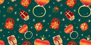 Anéis com corações sob a forma do patterna ilustração stock