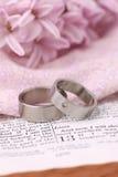 Anéis da Bíblia e de casamento Foto de Stock Royalty Free
