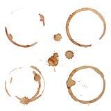 Anéis da mancha do café do vetor ajustados Fotografia de Stock Royalty Free