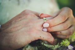 Anéis da troca dos recém-casados foto de stock royalty free
