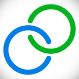 Anéis de bloqueio dos círculos Elemento abstrato do logotipo no azul e na GR ilustração royalty free