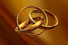Anéis de casamento 3D Imagens de Stock