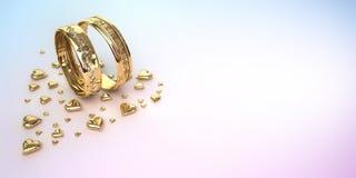 Anéis de casamento com corações Foto de Stock Royalty Free