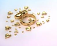 Anéis de casamento com corações Imagens de Stock Royalty Free