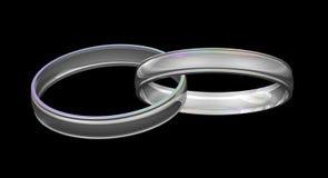 Anéis de casamento de prata Imagem de Stock