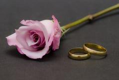 Anéis de casamento dourado. Imagem de Stock