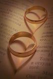 Anéis de casamento e máscaras sob a forma do coração Imagem de Stock