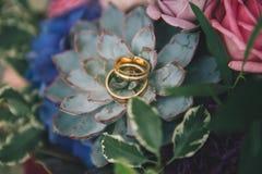 Anéis de casamento em flores Foto de Stock Royalty Free