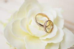 Anéis de casamento em uma flor Foto de Stock