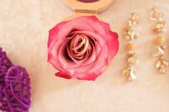 Anéis de casamento em uma rosa Foto de Stock