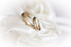 Anéis de casamento na chave elevada Fotografia de Stock Royalty Free