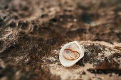 Anéis de casamento na praia Fotografia de Stock Royalty Free