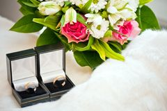 Anéis de casamento nas caixas Foto de Stock Royalty Free