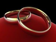 Anéis de casamento no coxim (eternidade gravada) Imagens de Stock