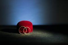 Anéis de casamento no fundo escuro Foto de Stock Royalty Free