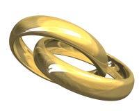 Anéis de casamento no ouro 3D Fotos de Stock