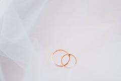 Anéis de casamento no véu Fotografia de Stock Royalty Free