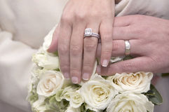 Anéis de casamento, ramalhete Foto de Stock