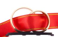 Anéis de casamentos com listra Foto de Stock Royalty Free