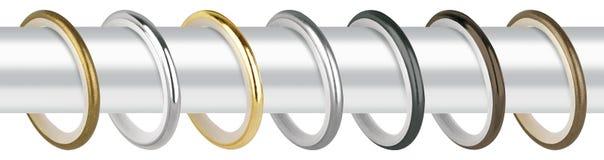 Anéis de cortina para o beirado Anéis do metal com os grampos para cornijas Fotos de Stock Royalty Free