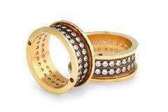 Anéis de diamantes do ouro Fotos de Stock