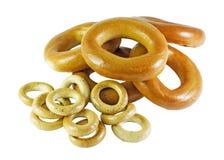 Anéis de espuma e bagels Fotografia de Stock