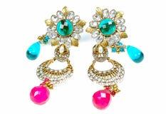 Anéis de orelha luxuosos do diamante Fotos de Stock Royalty Free