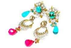 Anéis de orelha luxuosos do diamante Imagens de Stock Royalty Free