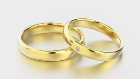 anéis de ouro amarelo clássicos da ilustração 3D com diamante em um whit Fotos de Stock