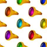 Anéis de ouro com as gemas, sem emenda Fotos de Stock Royalty Free