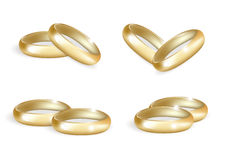 Anéis de ouro realísticos do casamento ajustados 3d une a coleção isolada no fundo branco Ilustração do vetor ilustração stock