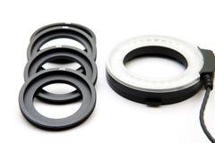 Anéis do adaptador para o flash e o objetivo do anel imagens de stock royalty free