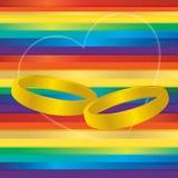 Anéis do casamento entre homossexuais Fotos de Stock Royalty Free