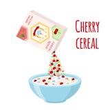 Anéis do cereal, cereja com bacia Café da manhã orgânico da farinha de aveia com leite Fotografia de Stock Royalty Free