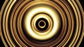 Anéis dourados de brilho no movimento de pulsação no fundo preto, laço sem emenda animation Vislumbrar amarelo abstrato ilustração stock