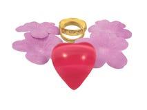 Anéis e coração de casamento com flores Imagens de Stock
