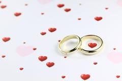 Anéis e corações Imagem de Stock Royalty Free