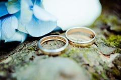 Anéis e ramalhete de casamento Fotografia de Stock